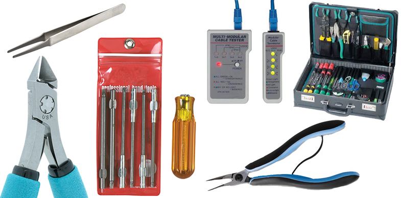 Tweezers, Wire Cutters, Crimpers, Tools Kits, Wire Strippers from brands like Excelta, JBC Tools and Lindstrom