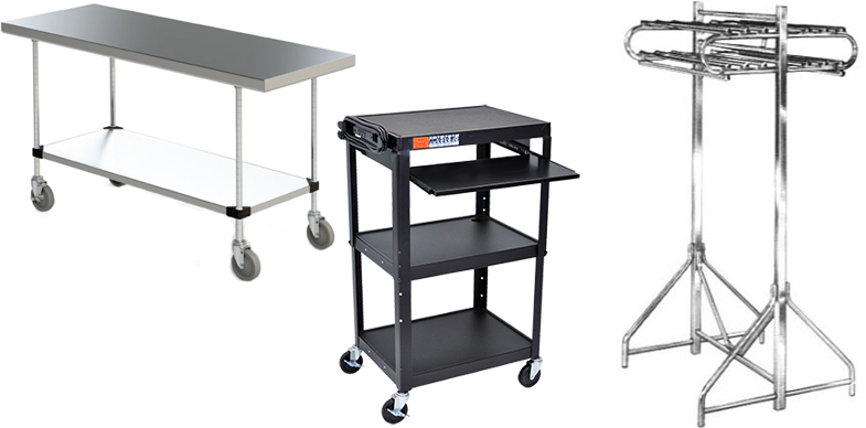 Audio Visual Carts, Coat Racks, Presenation Carts, Tables and Charging Cabinets by Bevco Ergonomic Seating, InterMetro Industries and Luxor Furniture.