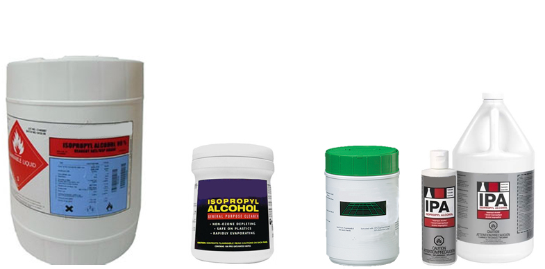 Isopropyl Alcohol from FG Clean Wipes, Chemtronics, Pharmco-AAPER and TechSpray
