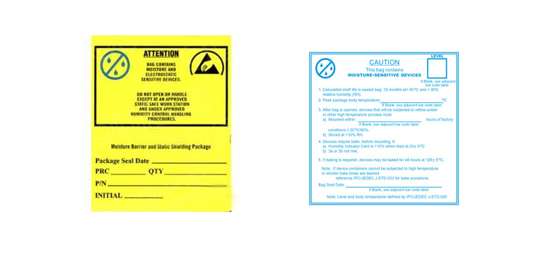 Moisture Warning Labels and Dry Packaging Labels from SCS