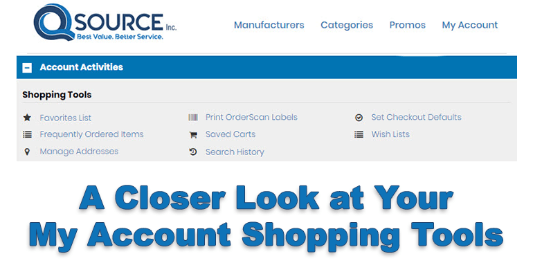 My Account Shopping Tools