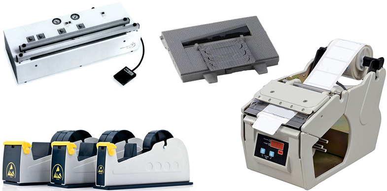 automatic tape dispensers, vacuum sealers, label dispensers and more from ASG, Botron, and SCS