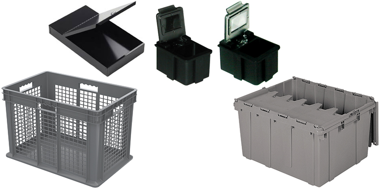 Attached Lid Containers, Hinged ESD-Safe Boxes and Small Parts Storage from Conductive Containers (CCI), Quanutm Storage Systems and Transforming Technologies