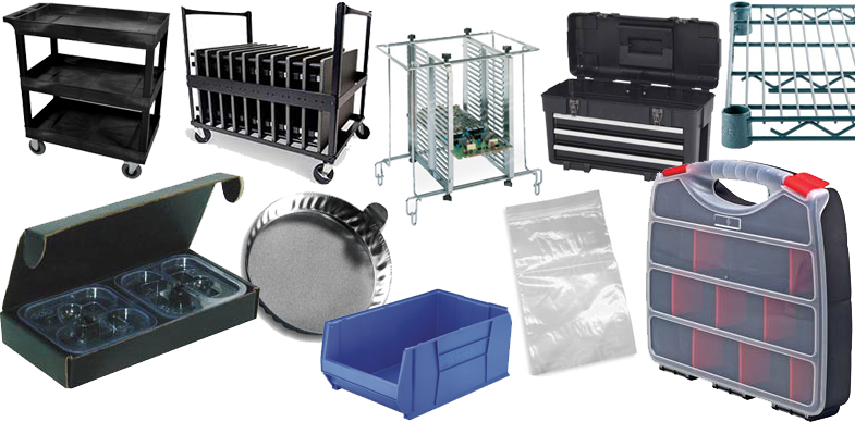 Storage & Material Handling, Metro Wire Shelving, ESD-Safe Bins, ESD-Safe Totes, Carts and Hand Trucks