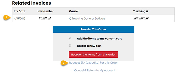 Tracking Orders & Recent Web Orders