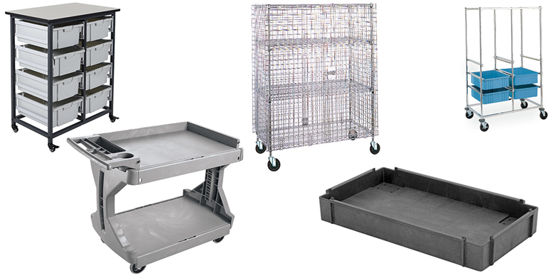 Kitting Carts, Mobile Tray Racks, Security Carts, and Utility Carts from InterMetro Industries, Olympic Storage Systems and Quantum Storage Systems