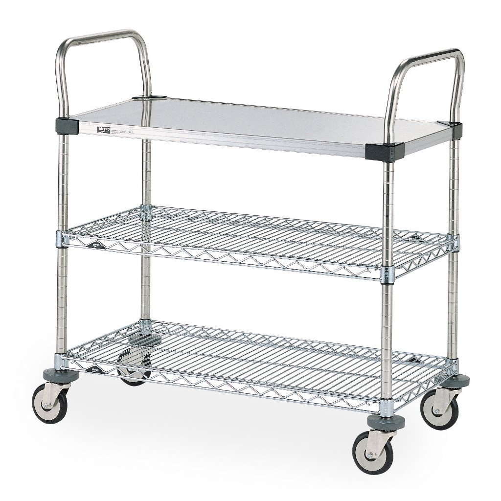 Intermetro Industries Metro Mw402 Mw Series Standard Duty Utility Cart 1 Stainless Steel Solid Shelf 2 Chrome Wire Shelves 18 X 30