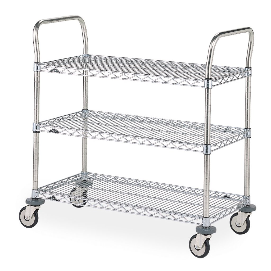Intermetro Industries Metro Mw712 Mw Series Standard Duty Utility Cart 3 Stainless Steel Wire Shelves 2 Stainless Steel Handles 24 X 36