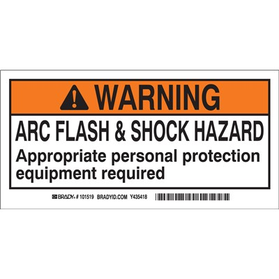 "Brady 101519 - Arc Flash Labels - Self-Sticking Polyester - 2"" H x 4"" W x 0.006"" D - Pack of 10 Labels - Black/Orange on White"