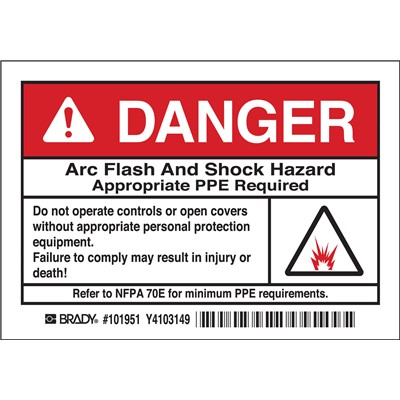 "Brady 101951 - Arc Flash Labels - DANGER w/Pictogram - Self-Sticking Polyester - 3.5"" H x 5"" W x 0.006"" D - Pack of 5 Labels - Black/Red on White"