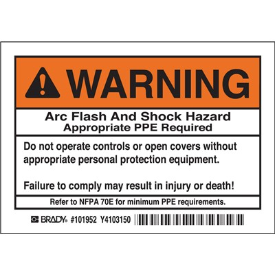 "Brady 101952 - Arc Flash Labels - Arc Flash And Shock Hazard- Self-Sticking Polyester - 3.5"" H x 5"" W x 0.006"" D - Pack of 5 Labels - Black/Orange on White"