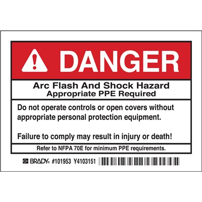 "Brady 101953 - Arc Flash Labels - DANGER Arc Flash and Shock Hazard - Self-Sticking Polyester - 3.5"" H x 5"" W x 0.006"" D - Pack of 5 Labels - Black/Red on White"