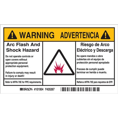Brady 101954 - Arc Flash Labels - Self-Sticking Polyester - English/Spanish Bilingual - Pack of 5 Labels - Black/Orange on White
