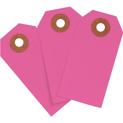 "Brady 102056 - Blank Write-On Tags - 2.75"" H x 1.375"" W - Cardstock - Fluorescent Pink - Pack of 1000 Tags"