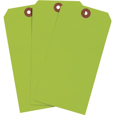 "Brady 102069 - Blank Write-On Tags - 5.25"" H x 2.625"" W - Cardstock - Fluorescent Green - Pack of 1000 Tags"