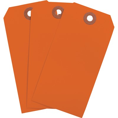 "Brady 102083 - Blank Write-On Tags - 4.25"" H x 2.125"" W - Cardstock - Fluorescent Red - Pack of 1000 Tags"