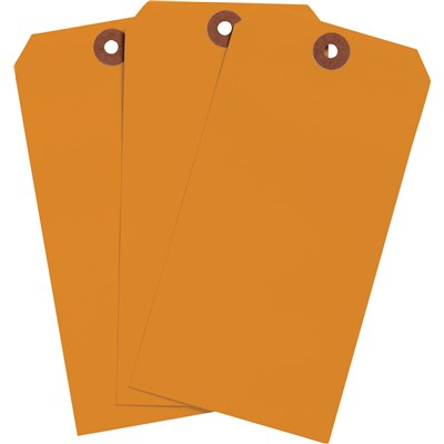 "Brady 102133 - Blank Write-On Tags - 5.25"" H x 2.625"" W - Cardstock - Orange - Pack of 1000 Tags"