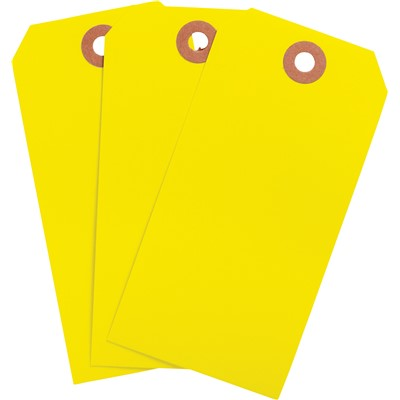 "Brady 102139 - Blank Write-On Tags - 4.25"" H x 2.125"" W - Cardstock - Yellow - Pack of 1000 Tags"