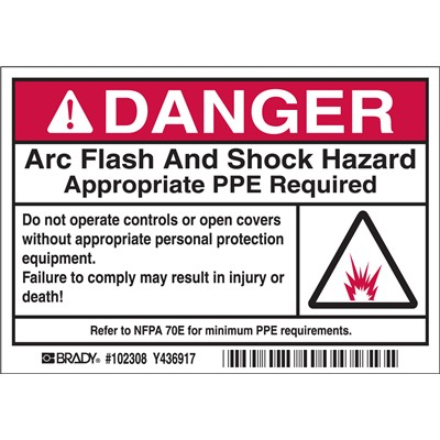 "Brady 102308 - Arc Flash Labels - DANGER w/Pictogram - Self-Sticking Polyester - 3.5"" H x 5"" W x 0.006"" D - Black/Red on White"