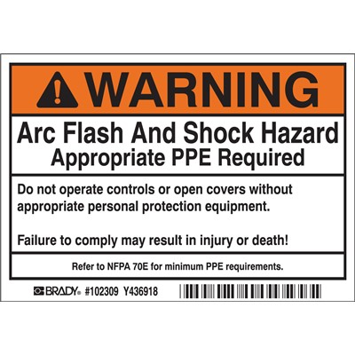 "Brady 102309 - Arc Flash Labels - Self-Sticking Polyester - 3.5"" H x 5"" W x 0.006"" D - Roll of 100 Labels - Black/Orange on White"