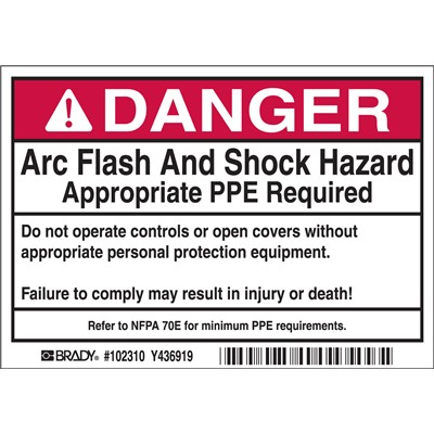 "Brady 102310 - Arc Flash Labels - DANGER Arc Flash and Shock Hazard - Self-Sticking Polyester - 3.5"" H x 5"" W x 0.006"" D - Roll of 100 Labels - Black/Red on White"