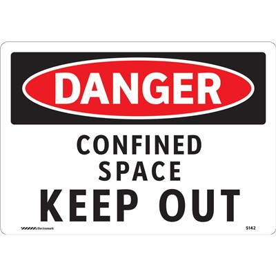 "Brady 102434 - DANGER Confined Space Keep Out Sign - 7"" H x 10"" W - Vinyl"