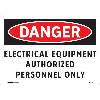 "Brady 102436 - DANGER Electrical Equipment Authorized Personnel Only Sign - 7"" H x 10"" W - Vinyl"