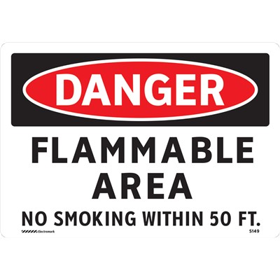 "Brady 102438 - DANGER Flammable Area No Smoking Within 50 Ft Sign - 7"" H x 10"" W - Self Sticking Vinyl"