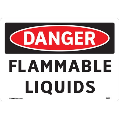 "Brady 102439 - DANGER Flammable Liquids Sign - 7"" H x 10"" W - Black/Red on White - Vinyl"