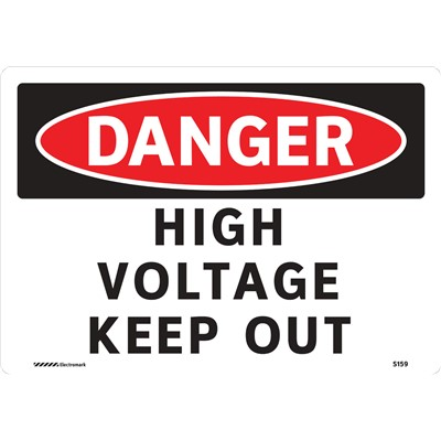 "Brady 102444 - DANGER High Voltage Keep Out Sign - 7"" H x 10"" W - Aluminum - Self-Adhesive"