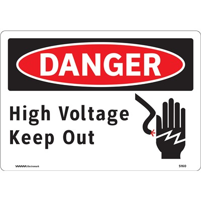 "Brady 102445 - DANGER High Voltage Keep Out w/Pictogram Sign - 7"" H x 10"" W - Aluminum - Self-Adhesive"