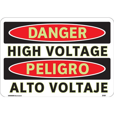 "Brady 102446 - Bilingual DANGER High Voltage/Alto Voltaje Sign - 7"" H x 10"" W - Aluminum - Self-Adhesive"