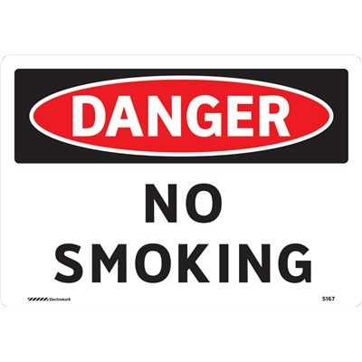 "Brady 102449 - DANGER No Smoking Sign - 7"" H x 10"" W x 0.006"" D - Polyester"