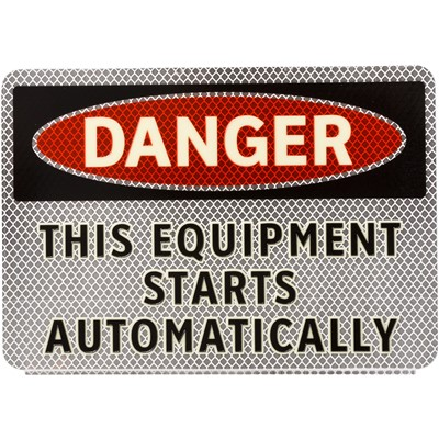 "Brady 102454 - DANGER This Equipment Starts Automatically Sign - 7"" H x 10"" W - Vinyl"