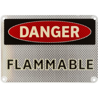 "Brady 102479 - DANGER Flammable Sign - 7"" H x 10"" W - Black/Red on Glow"