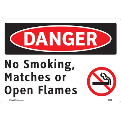 "Brady 102493 - No Smoking Matches Or Open Flames Sign - 7"" H x 10"" W x 0.035"" D - Aluminum"