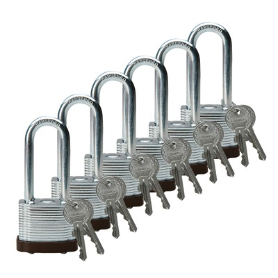 "Brady 102698 - Brady Standard-Size Steel Padlocks - 5-Pin Cylinder - 2"" Shackle Clearance - Keyed Different - Pack of 6 Each"