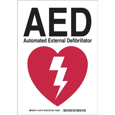 "Brady 102716 - AED Automated External Defibrillator Sign - 10"" H x 7"" W x 0.06"" D - Polystyrene"