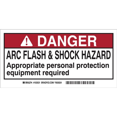 "Brady 103531 - Arc Flash Labels - Self-Sticking Polyester - 2"" H x 4"" W x 0.006"" D - Display Packaging - Pack of 10 Labels - Black/Red on White"