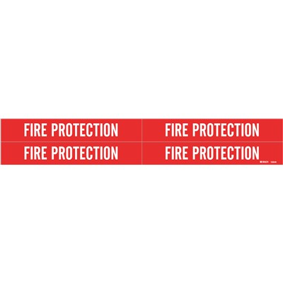 "Brady 103546 - Self-Adhesive Pipe Marker: FIRE PROTECTION - 1.125"" H x 7"" W Pack of 5 Each - Fits Pipes 0.75"" Dia. Thru 2.375"" Dia. - Pack of 5 Each"