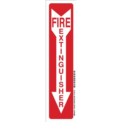"Brady 103597 - Fire Extinguisher Sign - 14"" H x 3.5"" W x 0.008"" D - Red on Glow - Polyester"