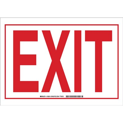 "Brady 103618 - Exit Sign - 10"" H x 14"" W x 0.06"" D - Red on White"