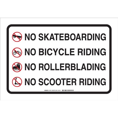 "Brady 103701 - No Skateboarding No Bicycle Riding No Rollerblading No Scooter Riding Sign - 14"" H x 20"" W x .035"" D - Aluminum"