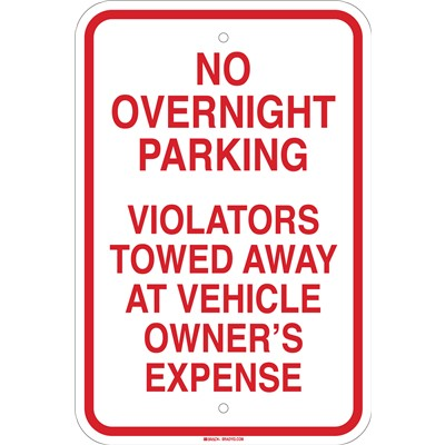 Brady 103705 - No Overnight Parking Violators Towed Away At Vehicle Owner