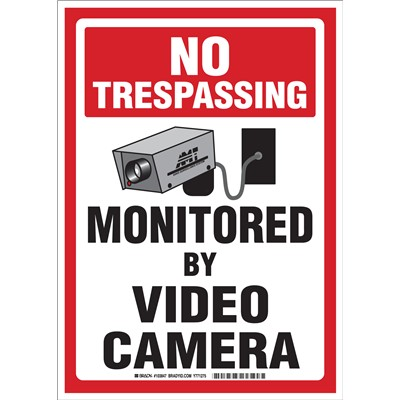"Brady 103847 - NO TRESPASSING Monitored By Video Camera Sign - 14"" H x 10"" W x 0.06"" D - Polystyrene"