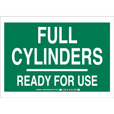 "Brady 103856 - Full Cylinders Ready For Use Sign - 10"" H x 14"" W x 0.006"" D - Polyester - Green on White"