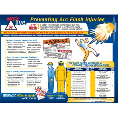 "Brady 104571 - Arc Flash Poster - 18"" H x 24"" W - Blue/Red/Yellow on Black"