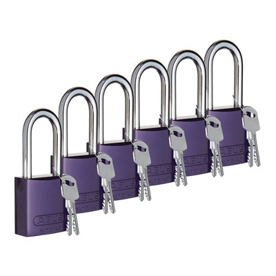 "Brady 104573 - ABUS Standard Size Aluminum Padlocks - 6-Pin Cylinder - 1"" Shackle Clearance - Keyed Different - 6/Pack"