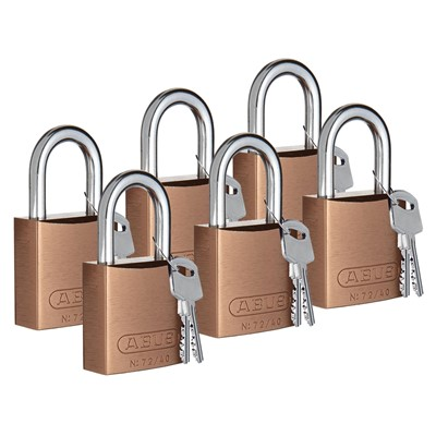 "Brady 104575 - ABUS Standard Size Aluminum Padlocks - 6-Pin Cylinder - 1"" Shackle Clearance - Keyed Different - 6/Pack"