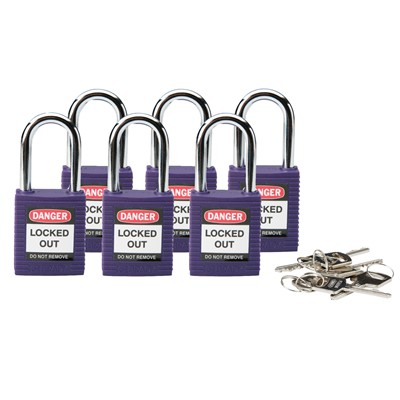 Brady 104916 - Brady Non-Conductive Nylon Padlocks - 6-Pin Cylinder - 1.5 in. Shackle Clearance - Keyed Different - 6/Pack